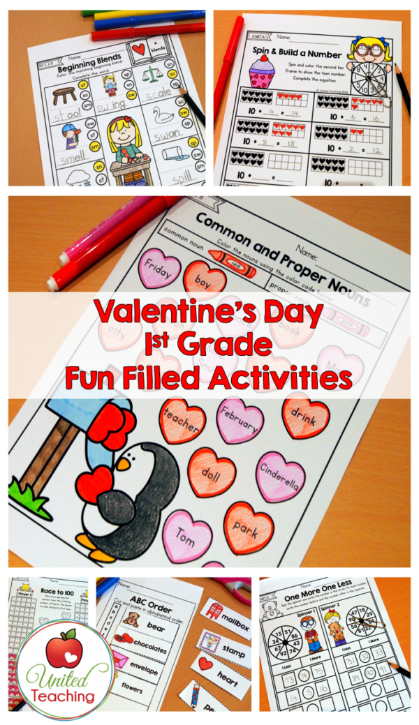Valentine's Day 1st Grade Fun Filled No Prep Activities
