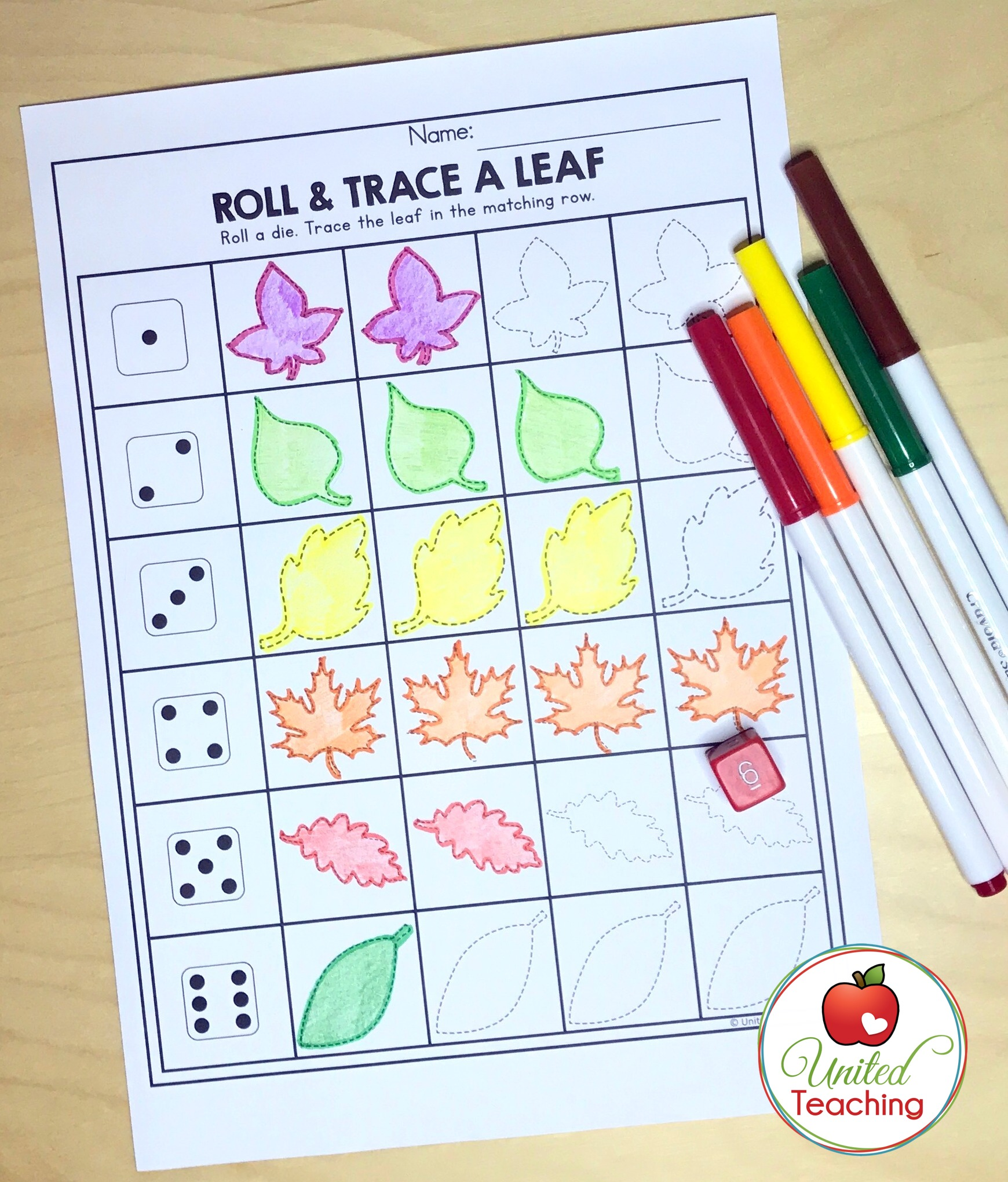 Roll and Trace a Leaf