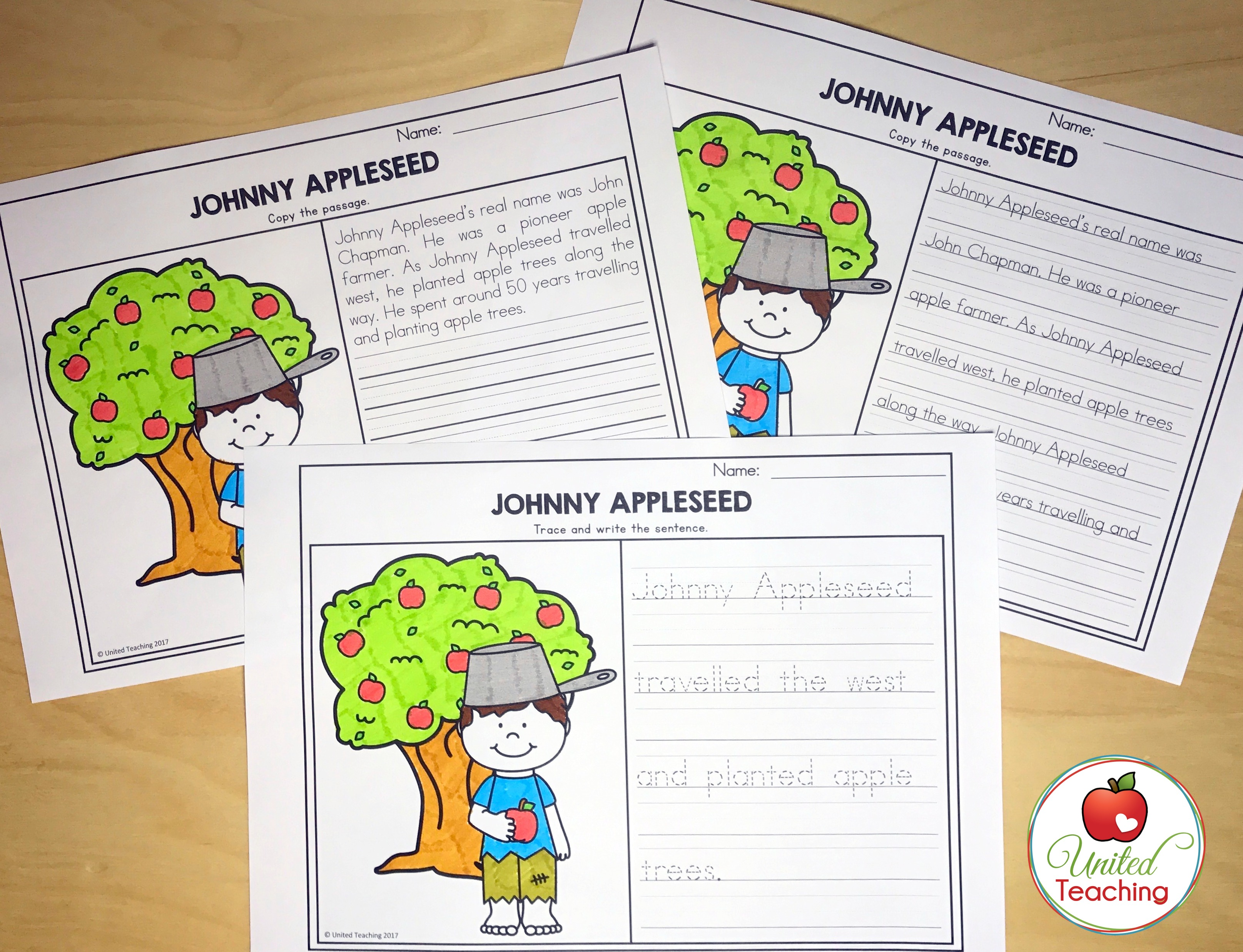 Johnny Appleseed Differentiated Handwriting