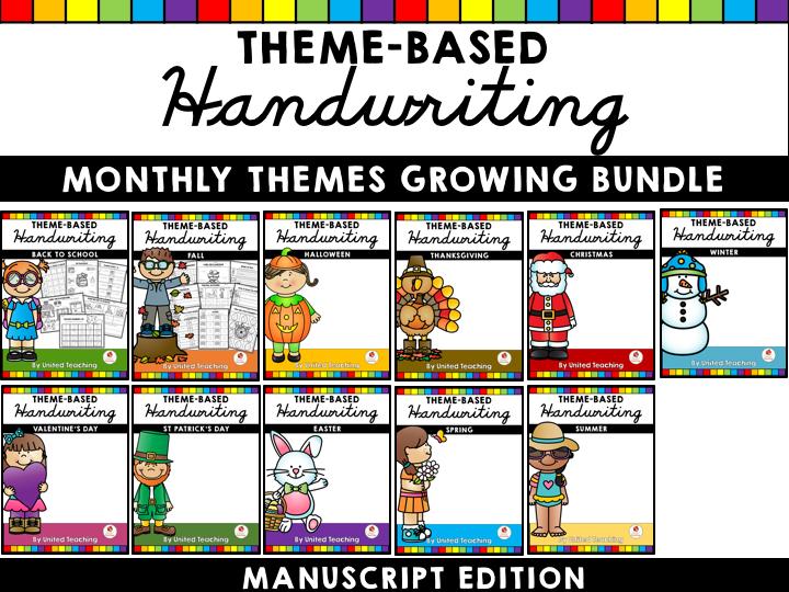Monthly Theme Based Handwriting Growing Bundle