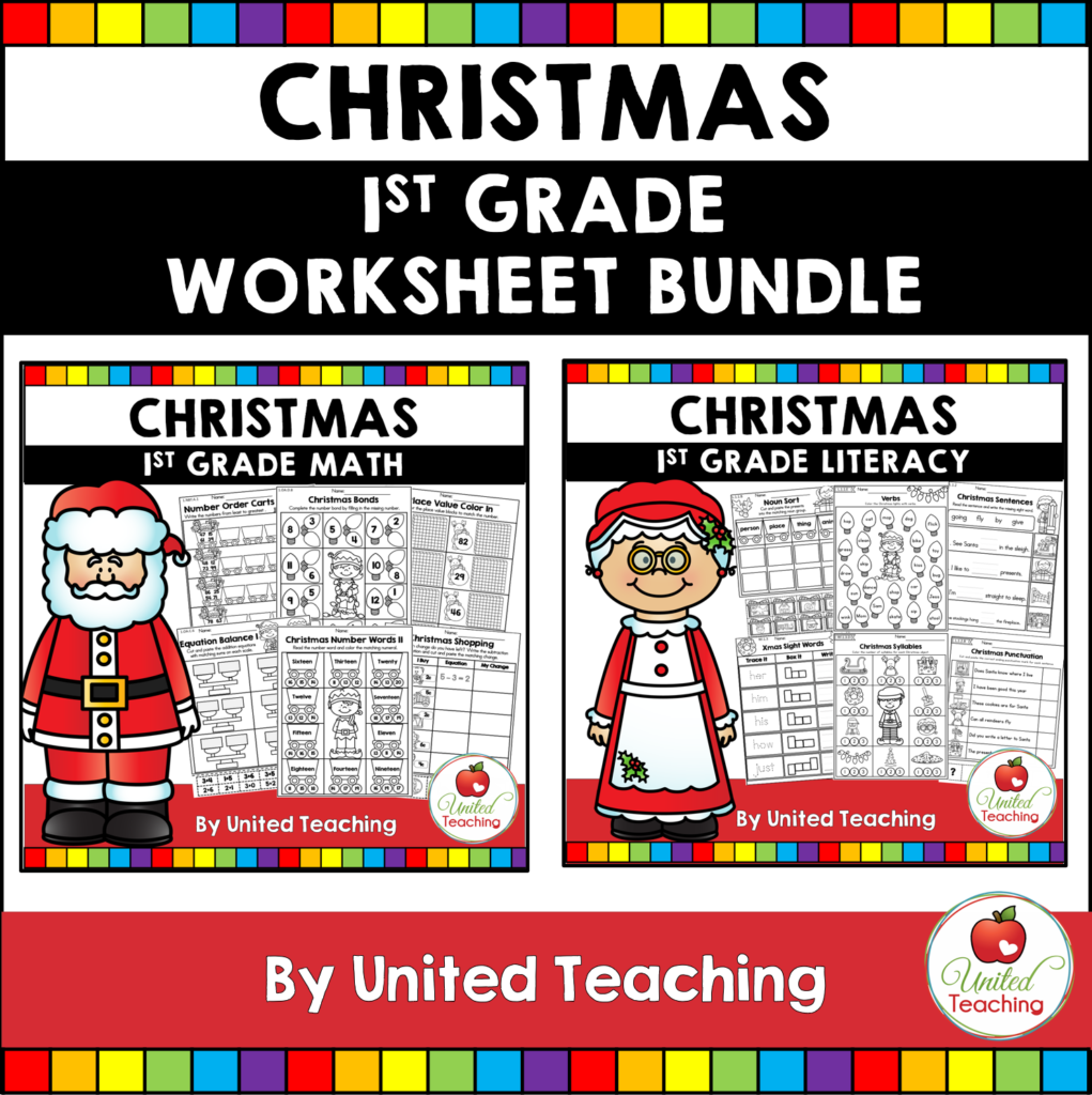 Christmas Math and Literacy 1st Grade Bundle
