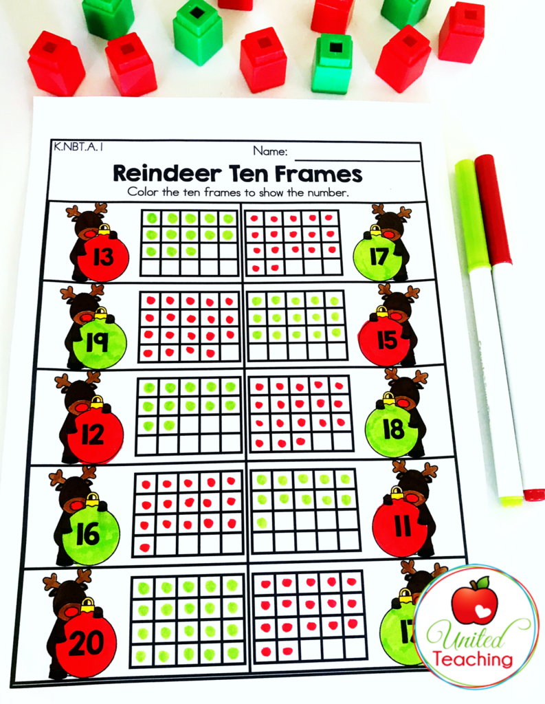 Reindeer Ten Frames Activity