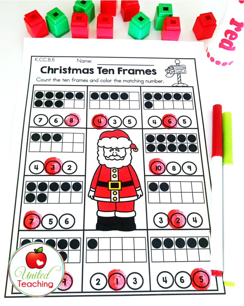 Christmas Ten Frames Activity