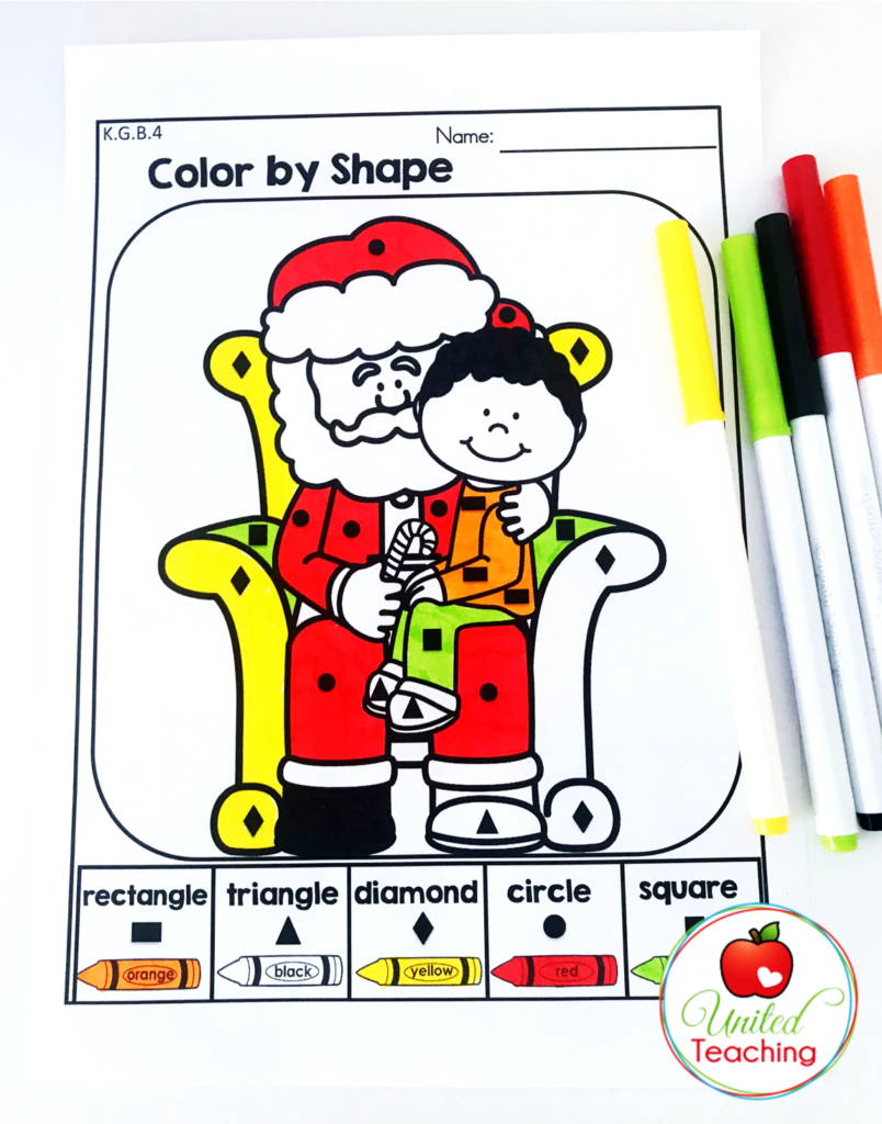 Christmas Color by Shape Activity