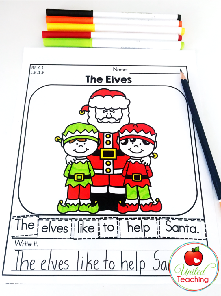 The Elves Scrambled Sentence Activity