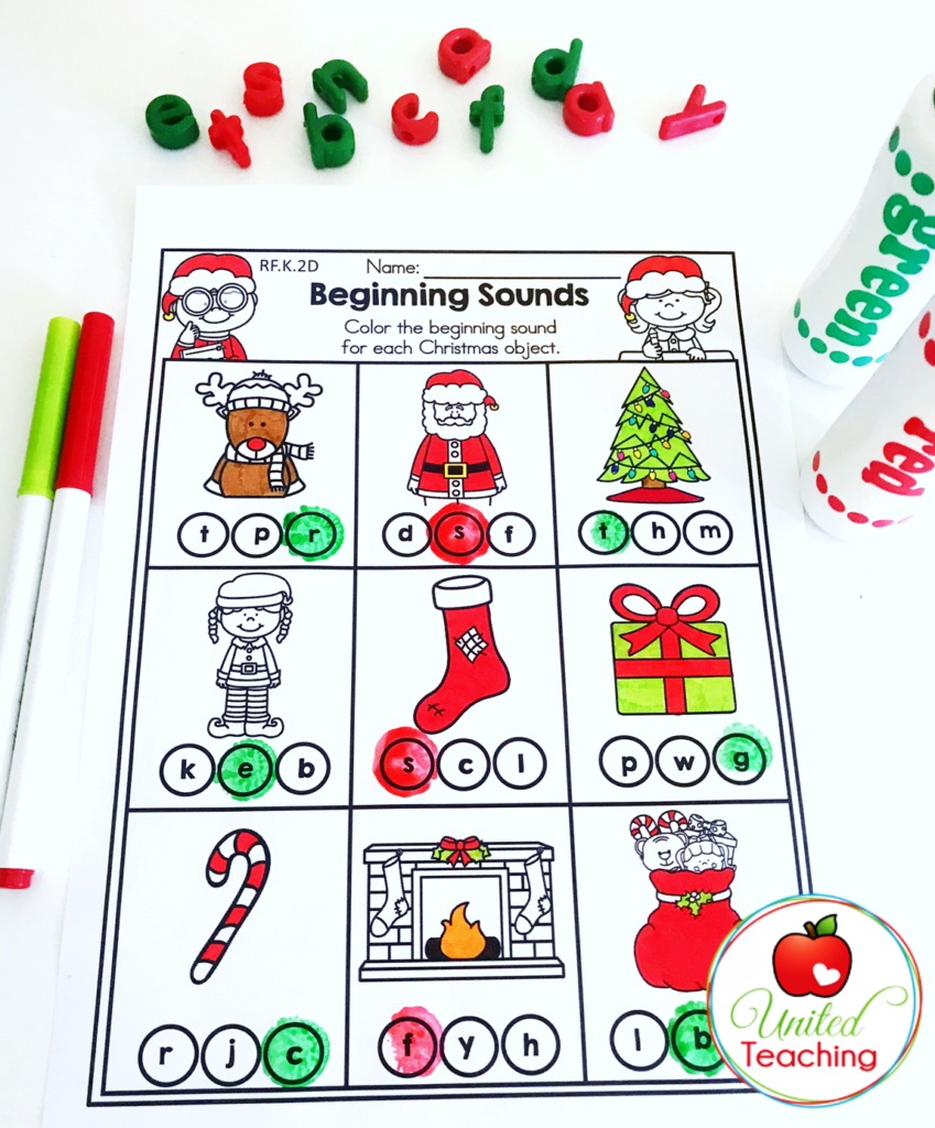 Christmas Beginning Sounds Activity