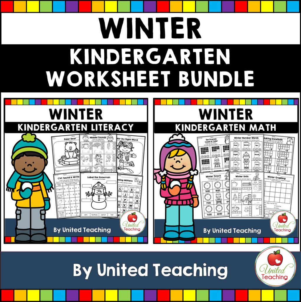 Winter Math and Literacy Kindergarten Activities Bundle