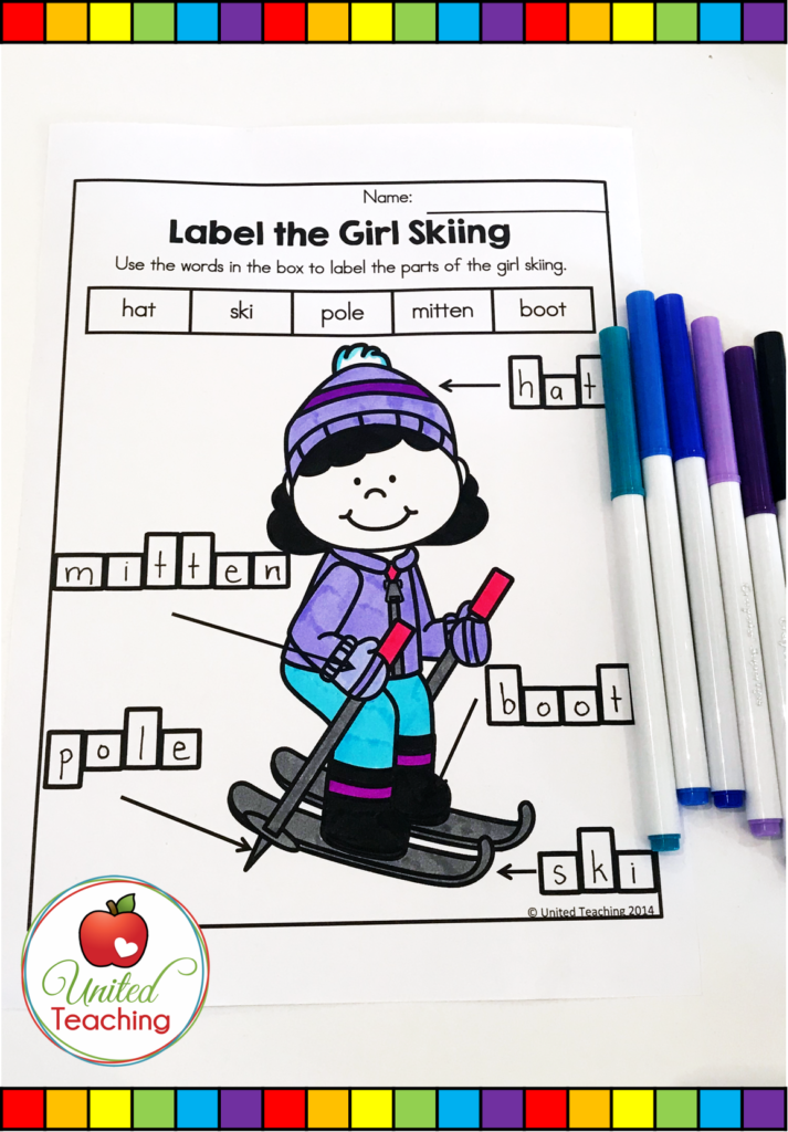 Label the Girl Skiing Worksheet