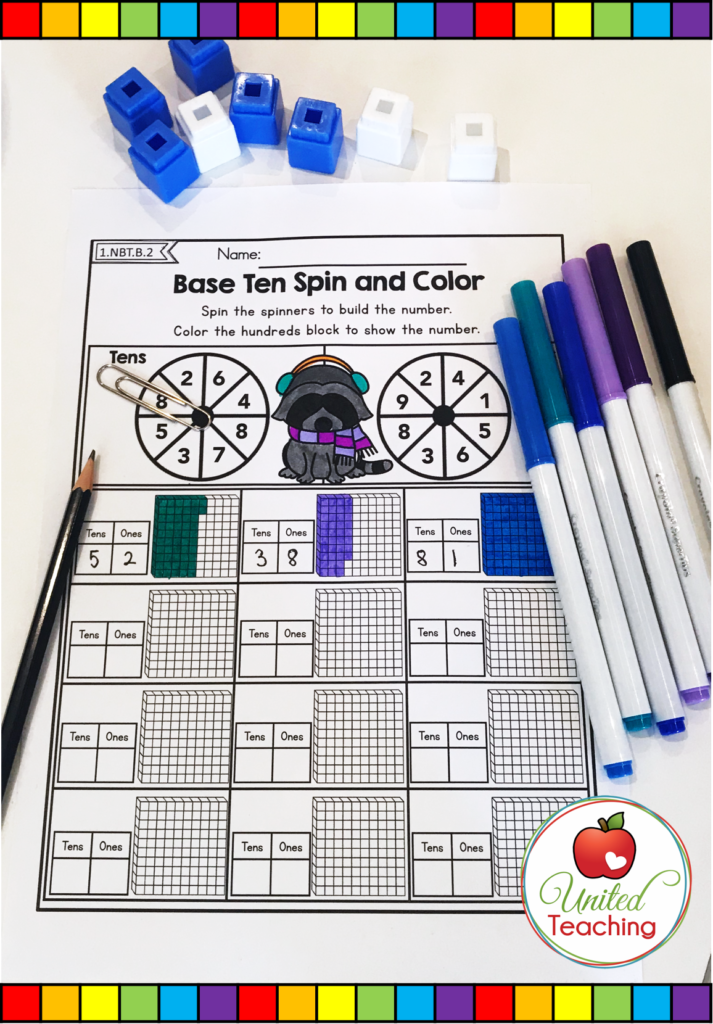 Base Ten Spin and Color Worksheet