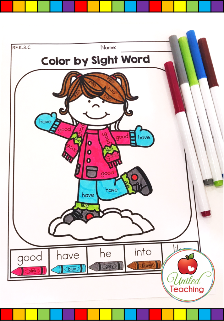 Winter Color by Sight Word Activity