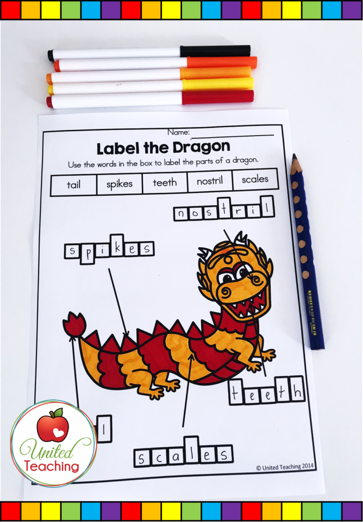 Label the Dragon Activity