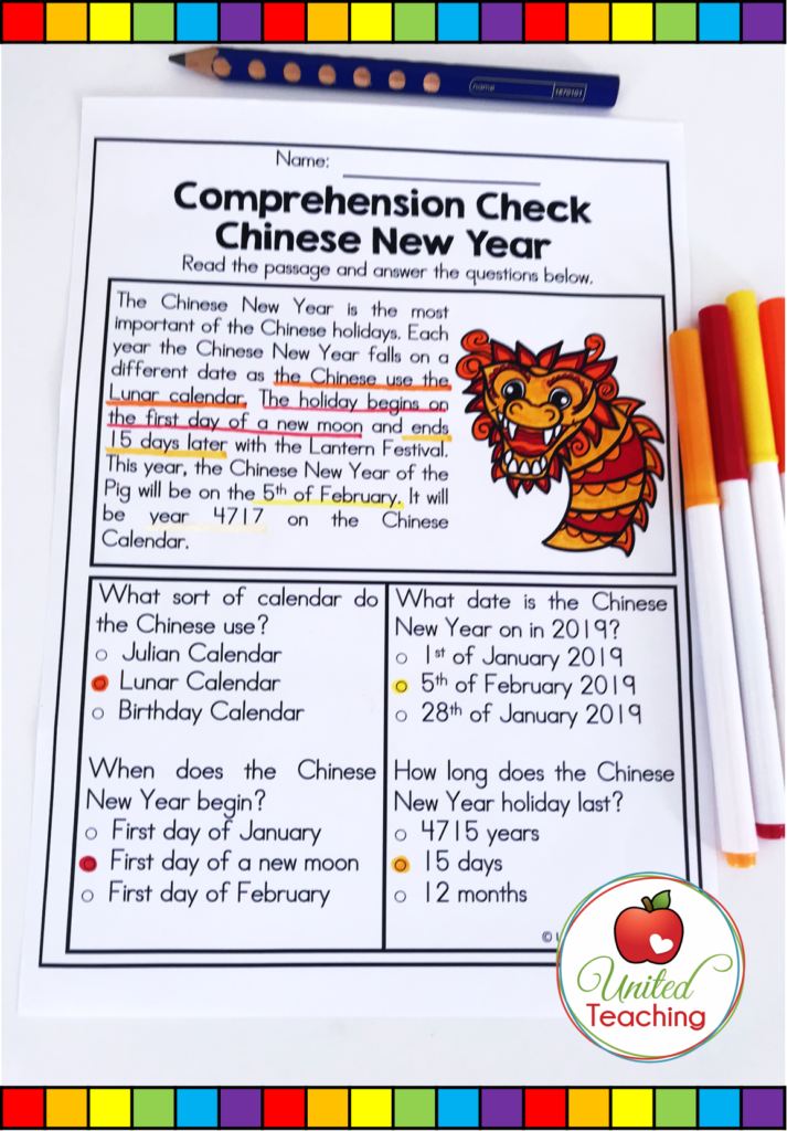 Chinese New Year Comprehension Check