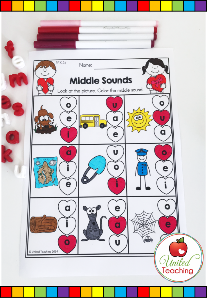 Valentine's Day Middle Sounds Vowels Activity