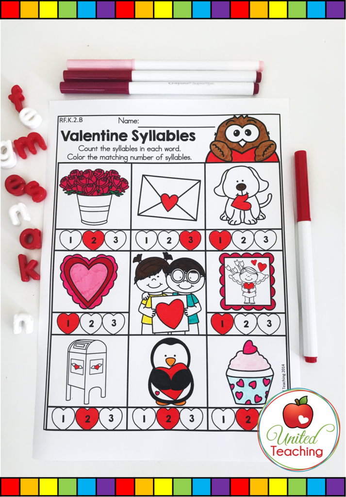 Valentine's Day Syllables Activity