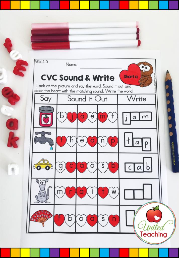 Valentine's Day CVC Sound and Write Activity
