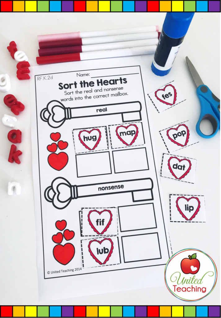 Valentine's Day Sort the Hearts Activity