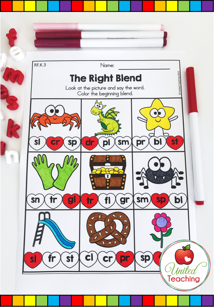 Valentine's Day The Right Blends Activity