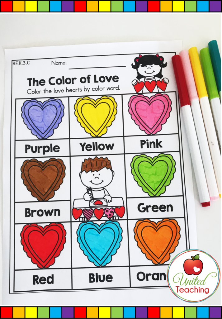 Valentine's Day Color Words Activity