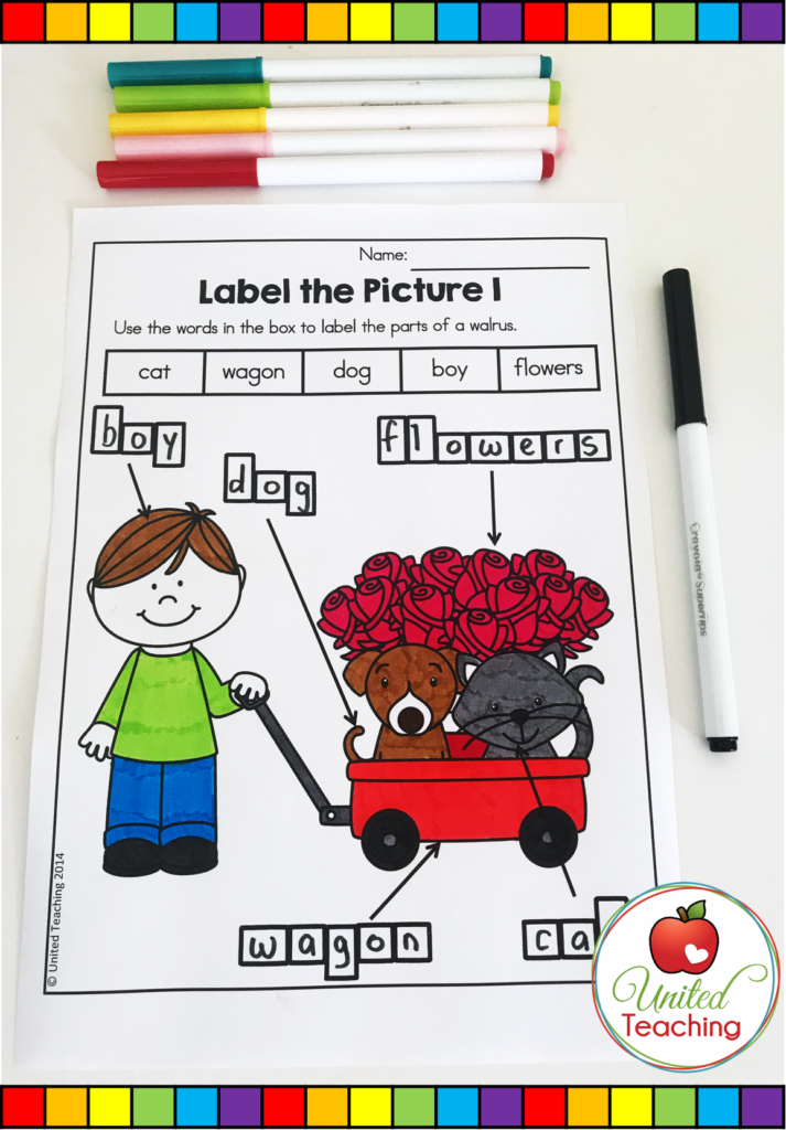 Valentine's Day Label the Picture Activity
