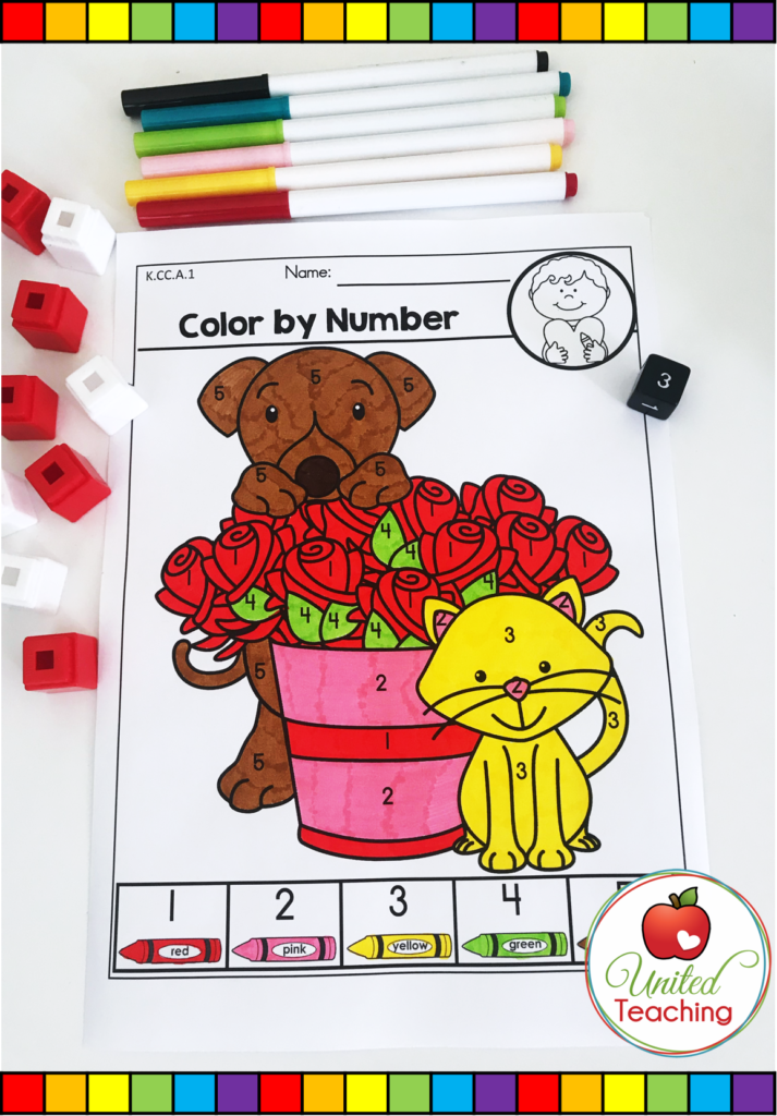 Valentine's Day Color by Number Activity