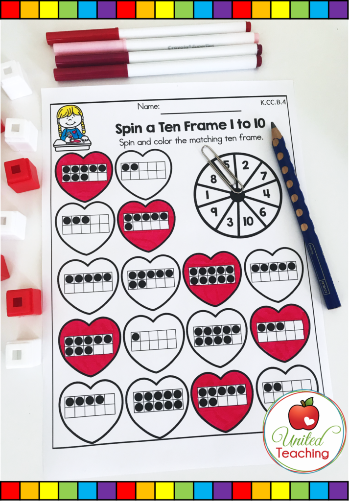 Valentine's Day Spin a Ten Frame Activity