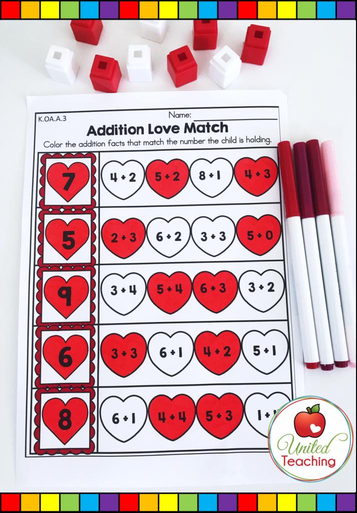 Valentine's Day Addition Love Match Activity