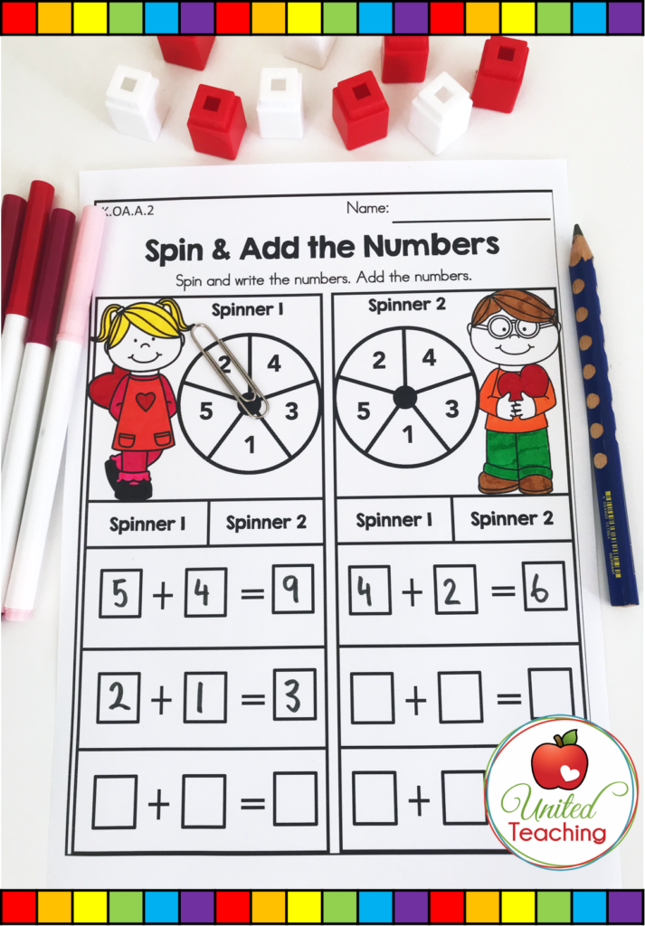 Valentine's Day Spin & Add the Numbers Activity