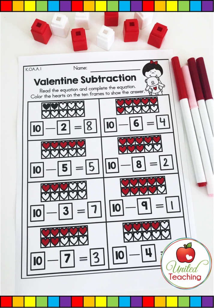 Valentine's Day Subtraction Activity