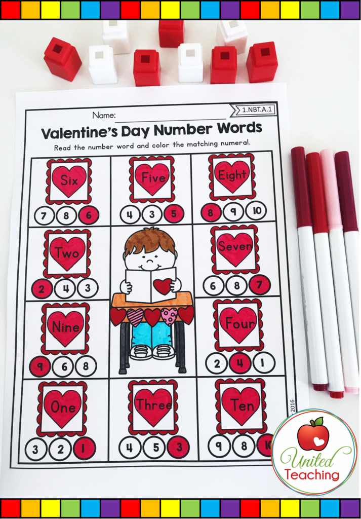 Valentine's Day Number Words