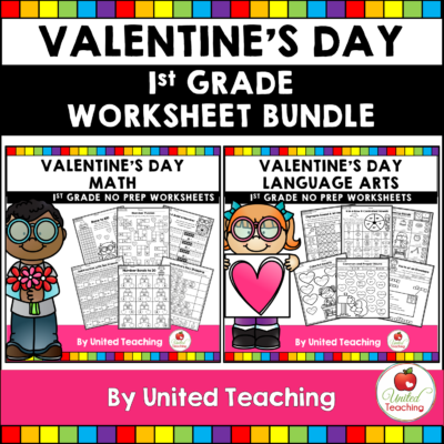 Valentine's Day Math and Literacy Activities First Grade Bundle