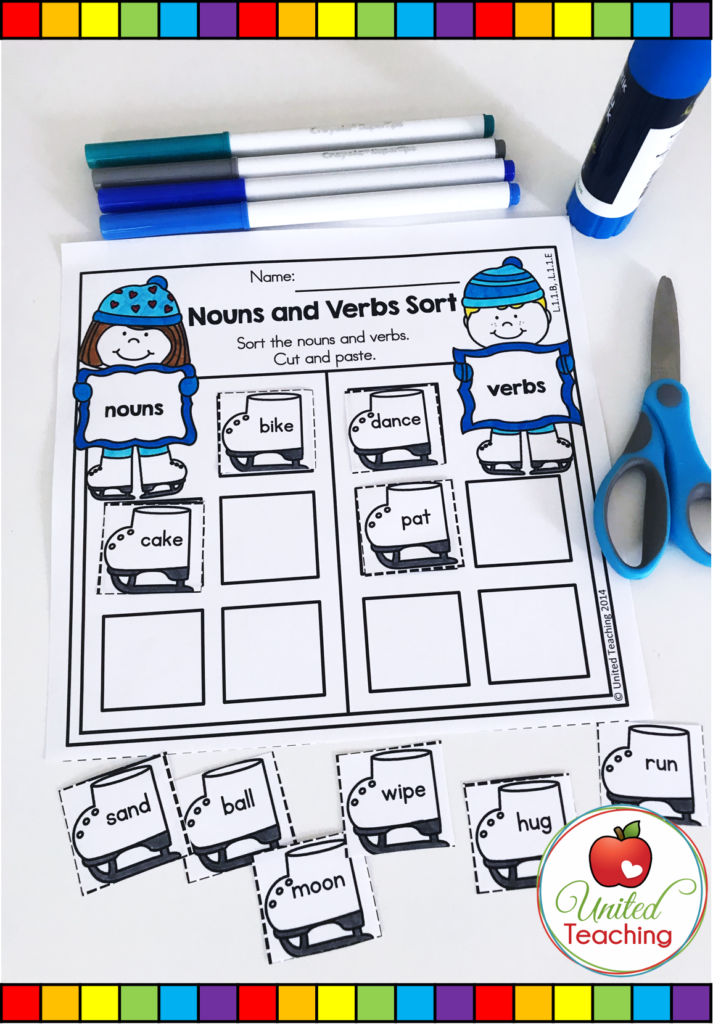 Nouns and Verbs Sort Worksheet