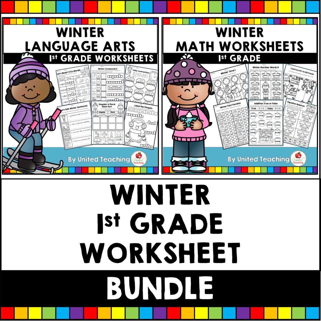Winter Math and Literacy 1st Grade Activities Bundle Cover