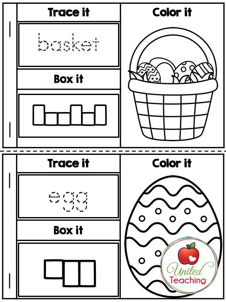 Easter Vocabulary Booklet Sample Page