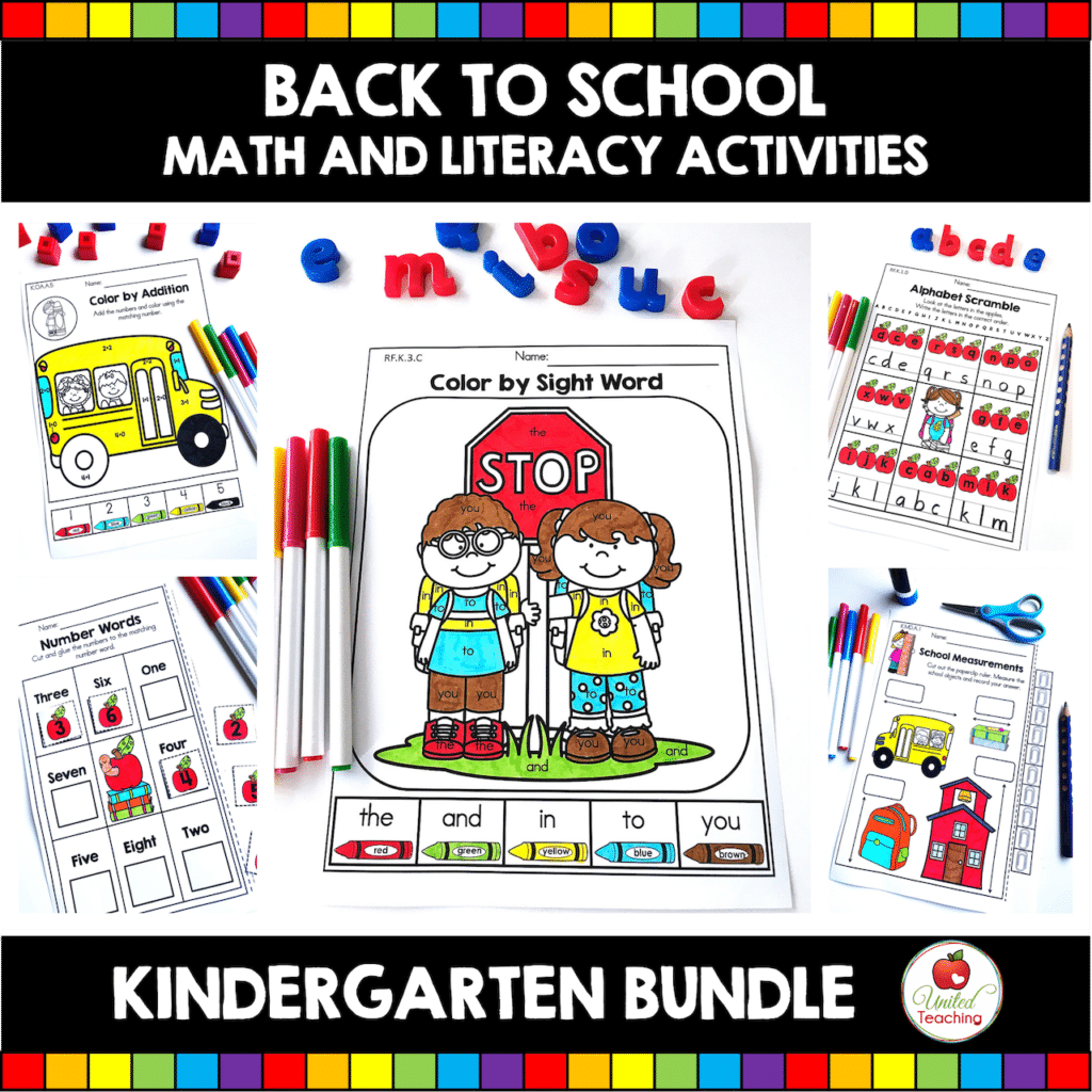 Back to School Math and Literacy Activities Kindergarten Bundle