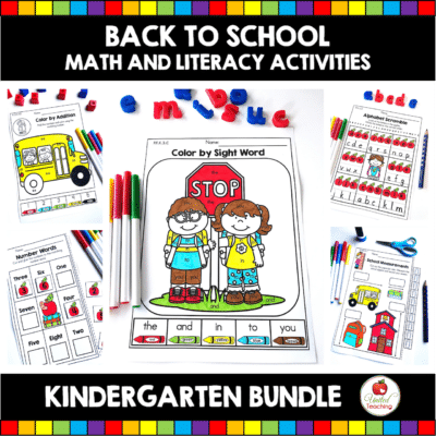 Back to School Math and Literacy Kindergarten Activities