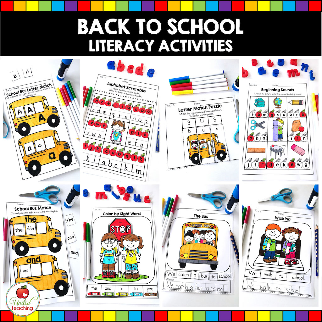 Back to School Kindergarten Literacy Activities