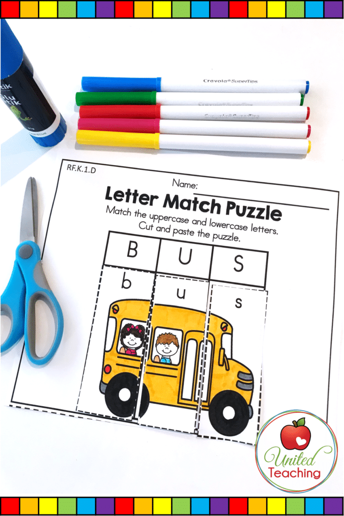 Alphabet uppercase and lowercase letter match puzzle activity