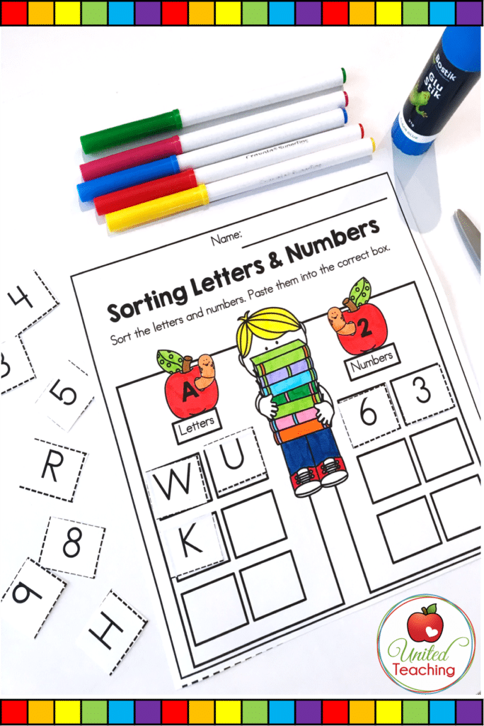 Sorting letters and numbers literacy worksheet