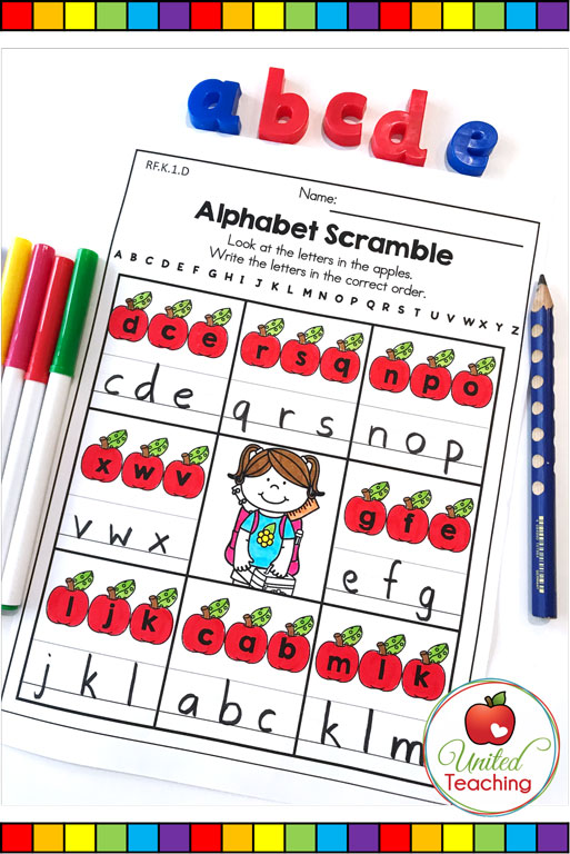 Alphabet scramble worksheet to help children learn the order of letters in the alphabet