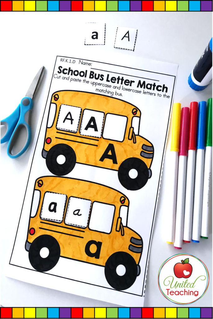 School Bus alphabet uppercase and lowercase letter match worksheet