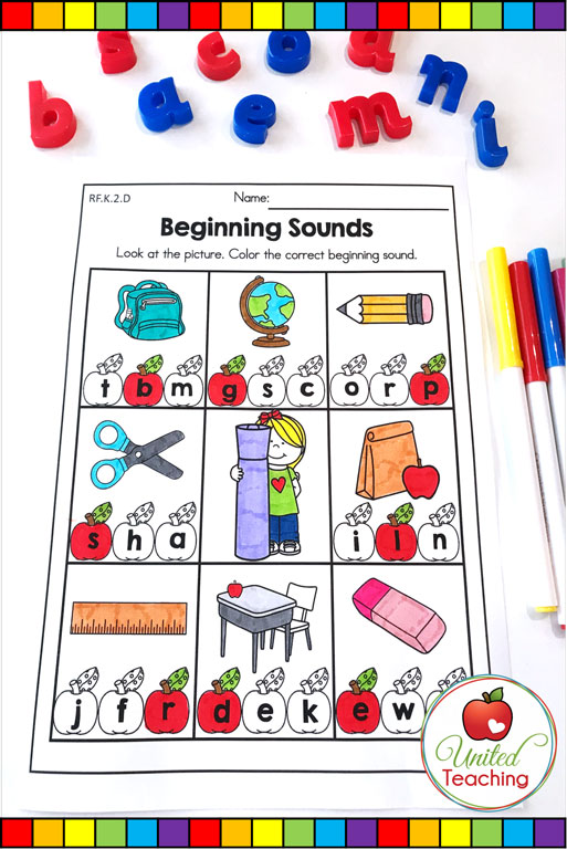Back to School beginning sounds worksheet.