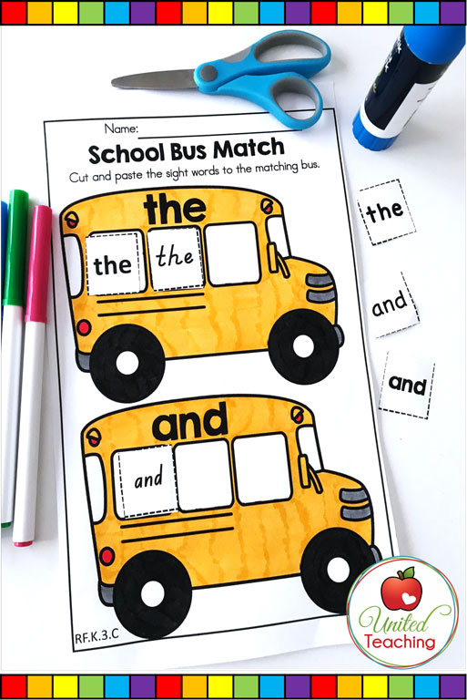 Back to School sight words matching activity for Kindergarten students.