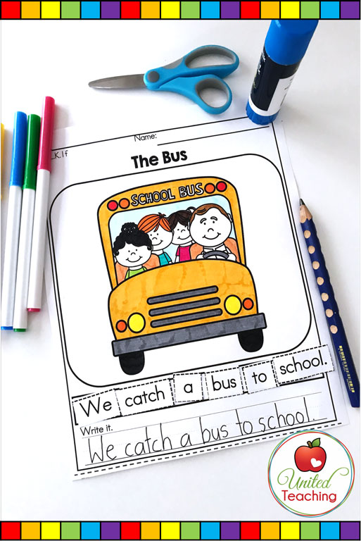 Back to School scrambled sentence literacy worksheet.