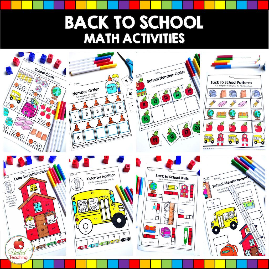 Back to School Math Activities for Kindergarten students