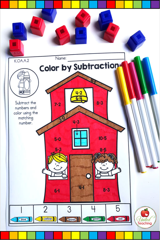 Color by subtraction math worksheet
