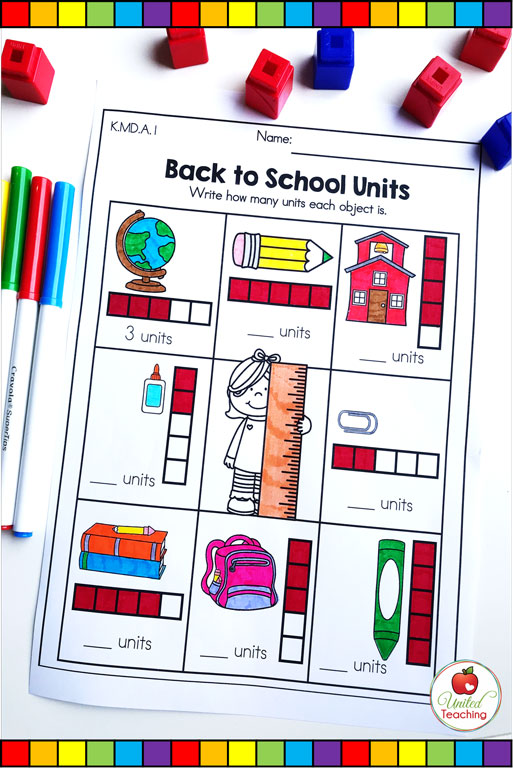 Back to School measurement with non-standard units math worksheet