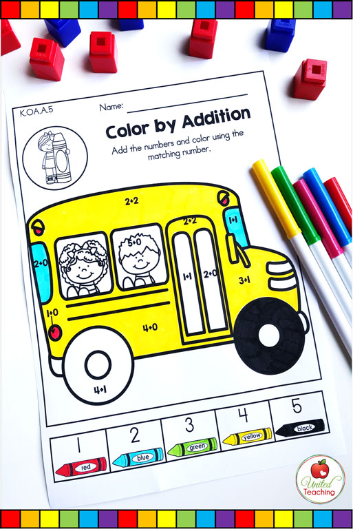Color by addition math worksheet