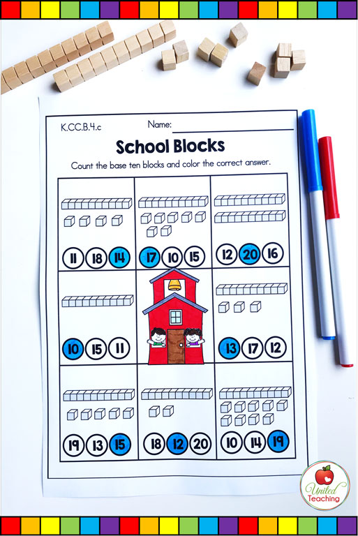 Base ten blocks place value counting from 11 to 20 math worksheet