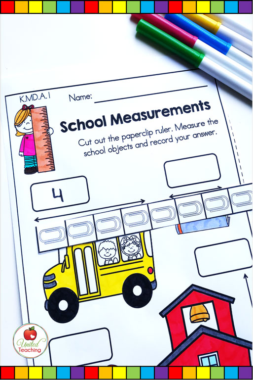 Measurement with non-standard units math worksheet