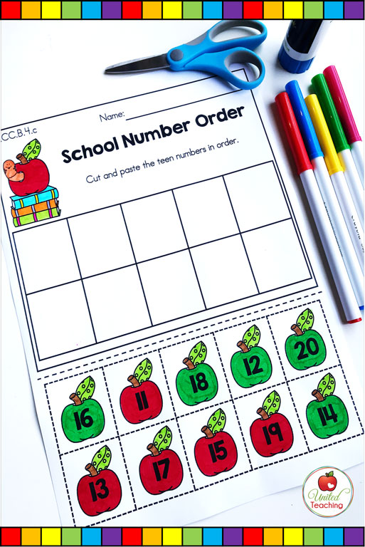 Counting from 11 to 10 cut and paste math worksheet